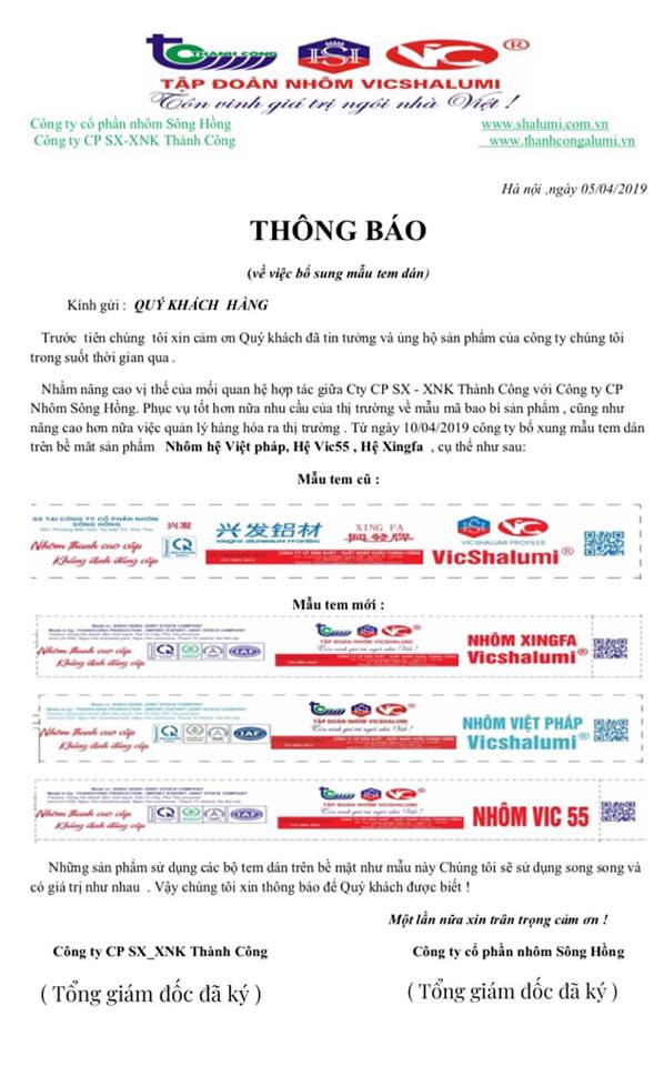 Thông Báo bổ sung mẫu tem dán trên bề mặt sản phẩm Nhôm việt pháp, Hệ Vic55, Hệ Xingfa...