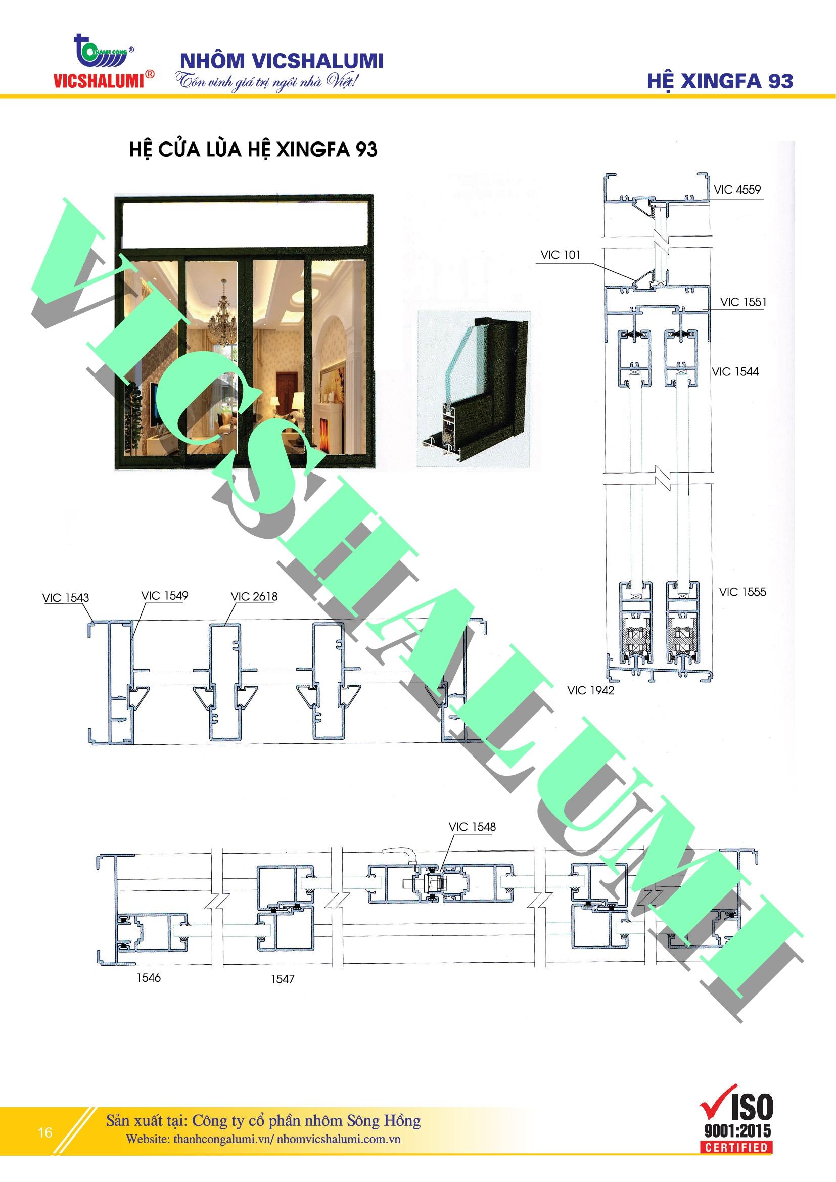 Hệ Cửa Lùa Hệ XINGFA 93