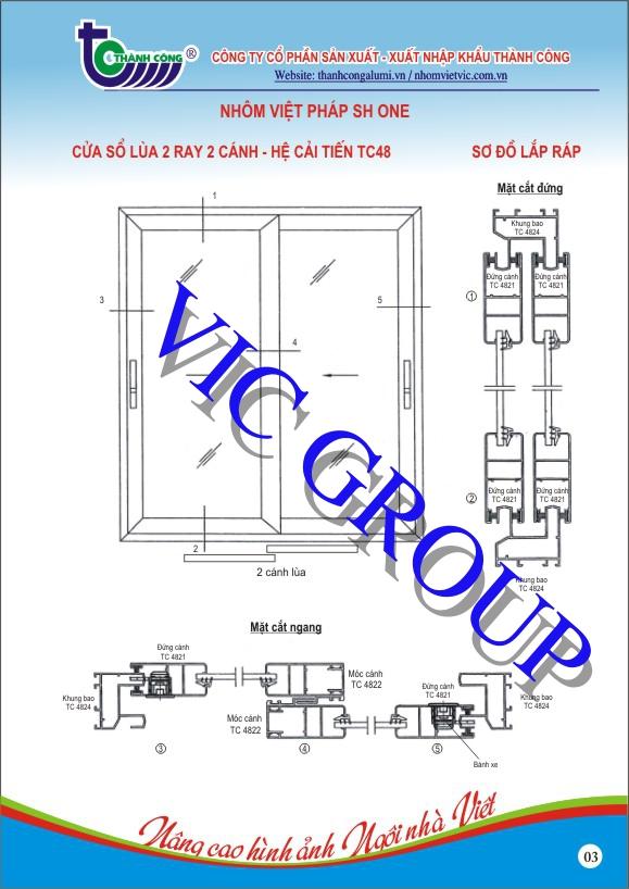 Cửa Sổ Lùa 2 Ray 2 Cánh - Hệ Cải Tiến TC48