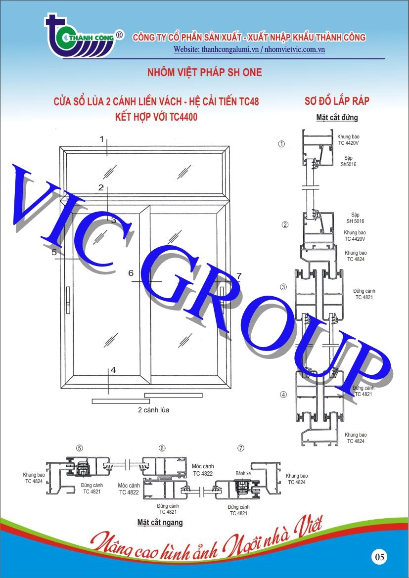 Cửa Sổ Lùa 2 Cánh Liền Vách - Hệ Cải Tiến TC48 Kết Hợp Với TC4400