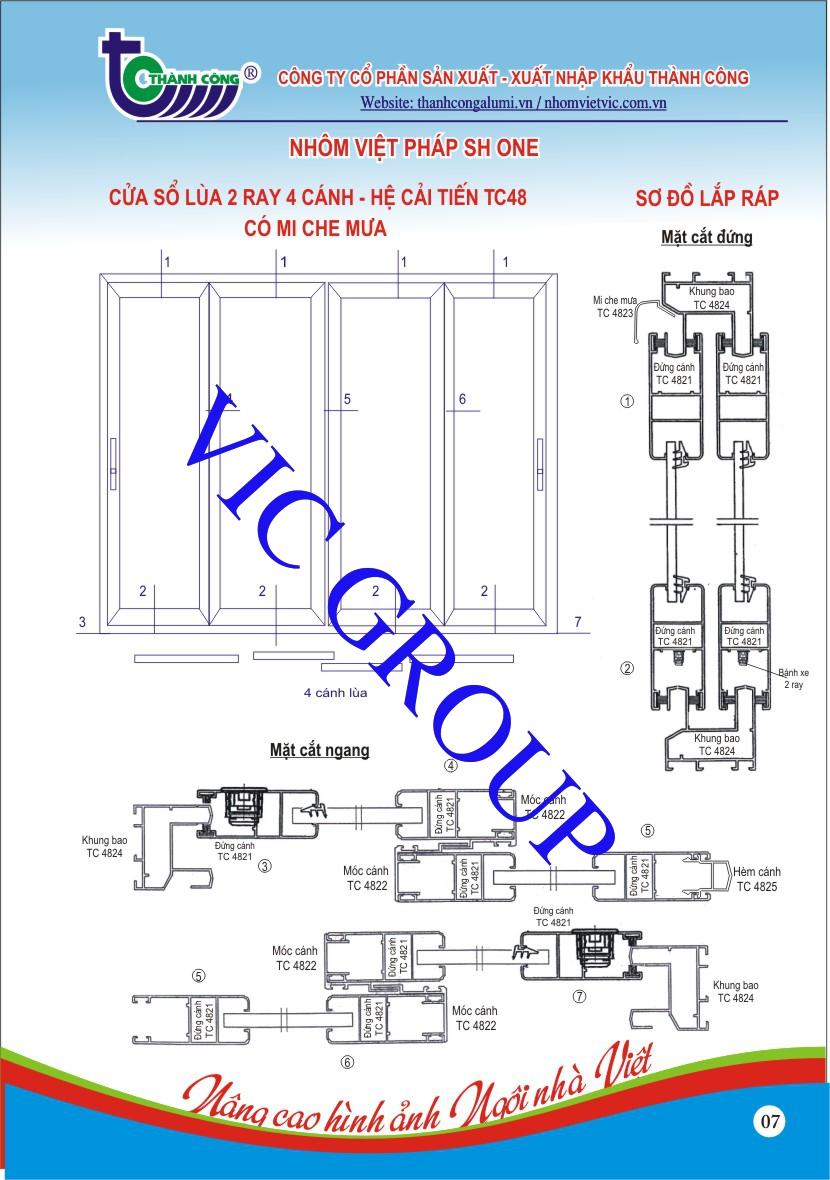 Cửa Sổ Lùa 2 Ray 4 Cánh - Hệ Cải Tiến TC48 Có Mi Che Mưa