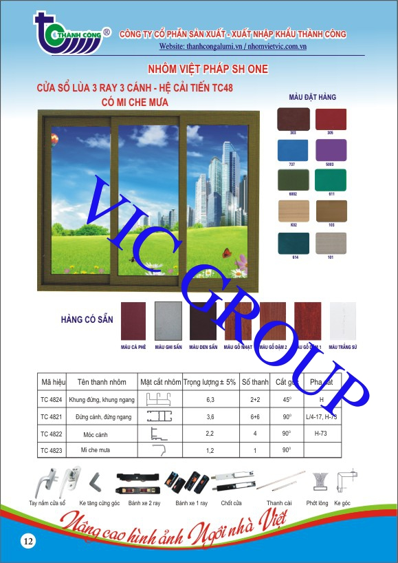 Cửa Sổ Lùa 3 Ray 3 Cánh - Hệ Cải Tiến TC48 Có Mi Che Mưa